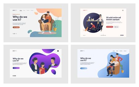 Family relationship set. Parents reading book with kids, giving support, feeding pet. Flat vector illustrations. Home, leisure, bonding concept for banner, website design or landing web page Vettoriali
