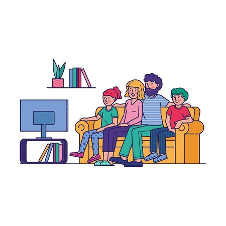 Happy family watching television together. People watch tv in living room flat vector illustration. Parents and children get entertainment, relax, watching show channel, movie, film sitting on couch
