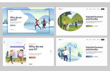 Set of friends skiing and skating together. Flat vector illustrations of people watering plants. Winter and summer outdoor activities, gardening concept for banner, website design or landing web page