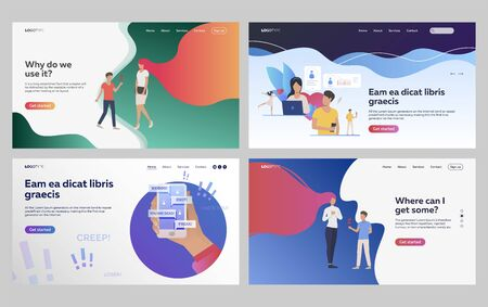 Set of people receiving cyberbullying attack. Flat vector illustrations of people using dating application. Romantic relationship, cyberbullying concept for banner, website design or landing web page