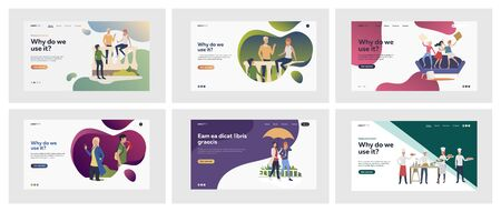 Set of people chatting and having fun together. Flat vector illustrations of men and women talking, walking, cooking. Relaxing and friendship concept for banner, website design or landing web page
