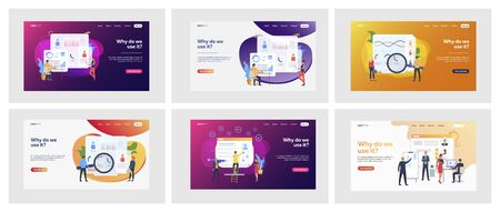 Set of business people analyzing curriculum vitae. Flat vector illustrations of men and women making statistics. Recruitment and analysis concept for banner, website design or landing web page