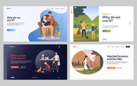 Set of family spending leisure time together. Flat vector illustrations of people hiking in forest. Family indoor and outdoor activities concept for banner, website design or landing web page