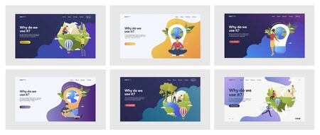 Set of people building environmentally friendly world. Flat vector illustrations of people helping ecology. Environment, ecology concept for banner, website design or landing web page Vector Illustration