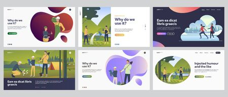 Activity outdoors set. People gardening, planting seedlings, skating on ice. Flat vector illustrations. Family, lifestyle, leisure concept for banner, website design or landing web page