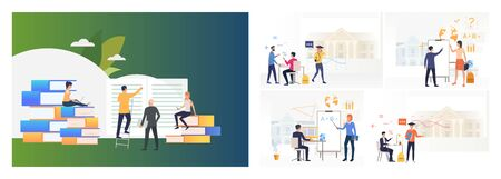 School class set. Student and teacher or professor communication. Flat vector illustrations. Education concept for banner, website design or landing web page