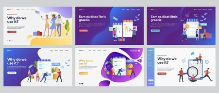 Customers shopping online set. Shoppers with bags buying clothes in internet store. Flat vector illustrations. Business, commerce concept for banner, website design or landing web page