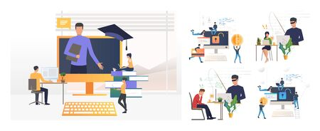 Hacking or phishing set. Hacker stealing email and credit card data. Flat vector illustrations. Cybercrime, attack concept for banner, website design or landing web page Stock Illustratie
