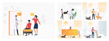 Set of animal shelters. Flat vector illustrations of vet clinic, veterinary. Pet treatment, consultation, animal care concept for banner, website design or landing web page Иллюстрация