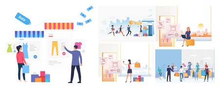 Set of people buying online. Flat vector illustrations of man and woman shopping on internet and in store. Online shopping concept for banner, website design or landing web page