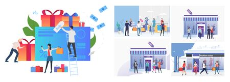 Set of people going shopping. Flat vector illustrations of woman shopping in boutiques. Shopping concept for banner, website design or landing web page Иллюстрация