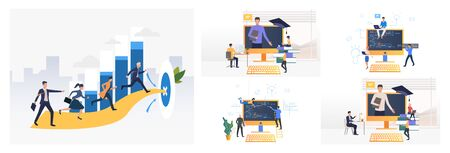 Programming studying set. Students writing application codes on computer. Flat vector illustrations. Software, education concept for banner, website design or landing web page