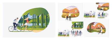 Set of adventure travel illustrations. Flat vector illustrations of people resting in city, hiking, walking with Nordic sticks outdoors. Activity concept for banner, website design or landing web page Stock Illustratie