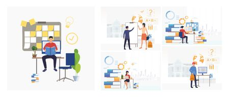 Set of teachers and students studying. Flat vector illustrations of teachers and students holding lesson. Education concept for banner, website design or landing web page