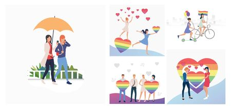 Set of people participating in gay pride parade. Flat vector illustrations of homosexuals with rainbow flags. LGBT concept for banner, website design, landing web page