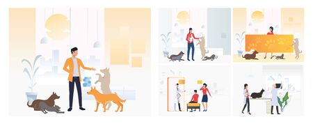 Set of veterinarians man and woman examining dog. Flat vector illustrations of vet clinic, veterinary. Pet treatment, consultation, animal care concept for banner, website design or landing web page