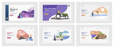 Set of people driving private transport. Flat vector illustrations of people travelling on bicycles. Transport, vehicle, travelling concept for banner, website design or landing web page 向量圖像