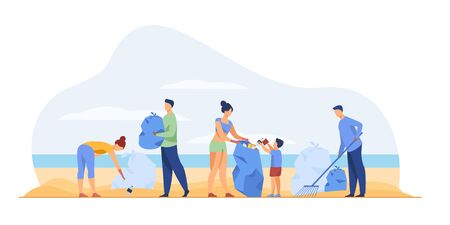 Eco volunteers cleaning sea or ocean beach from garbage. People, family with child collecting trash and sorting waste outdoors. Vector illustration for ecology, planet, nature Illusztráció