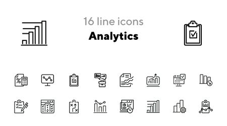 Analytics line icon set. Graph, diagram, chart. Analysis concept. Can be used for topics like business, marketing, planning, startup