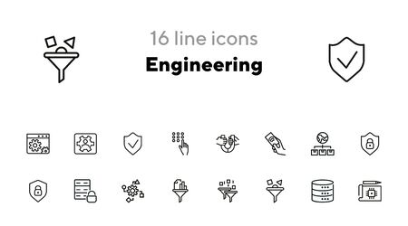 Engineering line icon set. Set of line icon on white background. Technology concept. Security, fuel, machine. Vector illustration can be used for topics like progress, industry Vector Illustration
