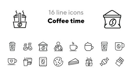 Coffee time icons. Set of line icons. Morning coffee, take away coffee, cookie. Coffee break concept. Vector illustration for topics like business process, everyday routine, food, office life
