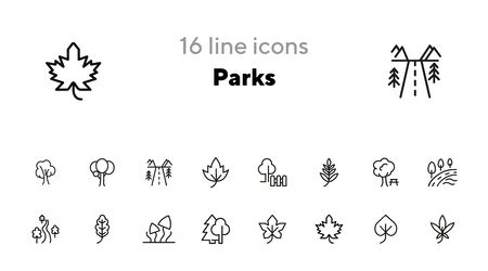 Parks line icon set. Tree, leaf, plant, flora. Nature concept. Can be used for topics like hiking, forest, country Ilustração