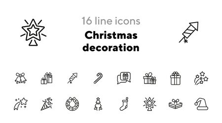 Christmas decoration line icon. Set of line icons on white background. Festive concept. Wreath, sock, present, firework. Vector illustration can be used for topics like Christmas, new year, decoration Ilustração