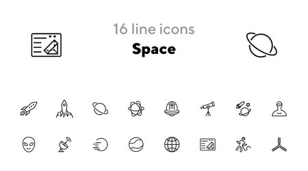Space line icon set. Rocket, alien, Earth. Progress concept. Can be used for topics like astronomy, space navigation, science, planets Reklamní fotografie - 140620433