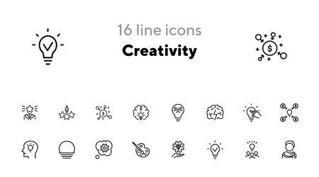 Creativity line icon set. Artist, idea, lightbulb. Creative job concept. Can be used for topics like innovation, startup, invention, idea marketing