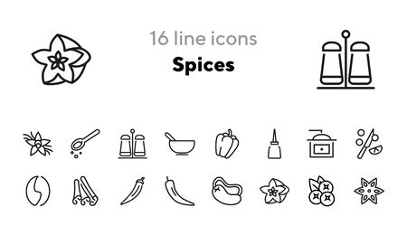Spices line icon set. Seasoning, ingredient, aroma. Cooking concept. Can be used for topics like food, culinary, cuisine