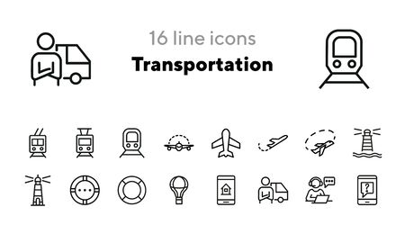 Transportation line icon set. Plane, train, trolley, lighthouse, courier. Transport concept. Can be used for topics like delivery, travel, shipment, sea 일러스트