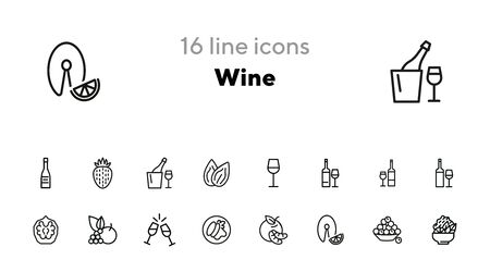 Wine line icon set. Set of line icons on white background. Drinking concept. Grape, fruit, bottle. Vector illustration can be used for topics like food, restaurant, cafe