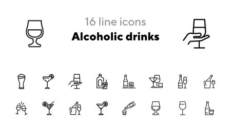 Alcoholic drinks icon. Set of line icons on white background. Martini, toast, whiskey. Beverage concept. Vector illustration can be used for topics like wine menu, bar, drinks Ilustrace