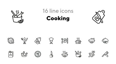 Cooking line icon set. Set of line icons on white background. Food concept. Plate, knife, chicken. Vector illustration can be used for topics like kitchen, food, cooking Ilustrace
