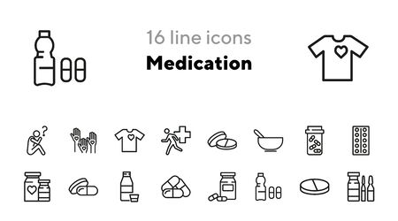 Medication line icon set. Pill, tablet, vitamin. Treatment concept. Can be used for topics like pharmacy, prescription, antibiotic Ilustração