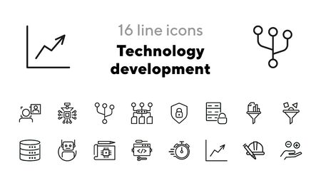 Technology development line icon set. Database, face detection, filter. Information technology concept. Can be used for topics like data processing, coding, software