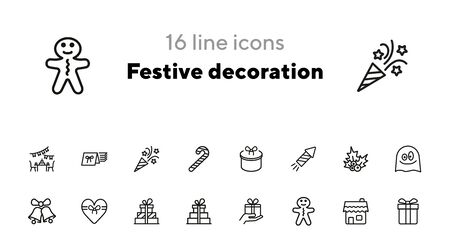 Festive decoration line icon set. Set of line icons on white background. Festive concept. Bells, gingerbread, present. Vector illustration can be used for topics like Christmas, new year, decoration