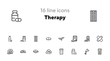 Therapy line icon set. Prescription, medical bottle, pills, syrup. Health care concept. Can be used for topics like cure, illness, treatment