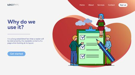 Business people standing at clipboard with checklist flat vector illustration. Filling check boxes with marks by pencil. Online survey, scheduling and voting concept. Иллюстрация