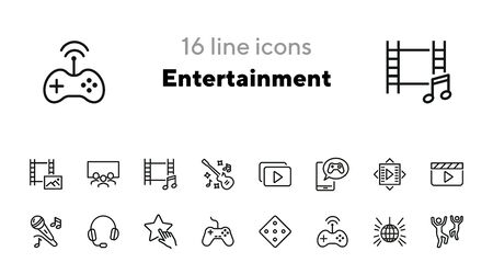 Entertainment line icon set. Dancing, karaoke, cinema, game controller. Leisure concept. Can be used for topics like fun, party, concert Ilustração
