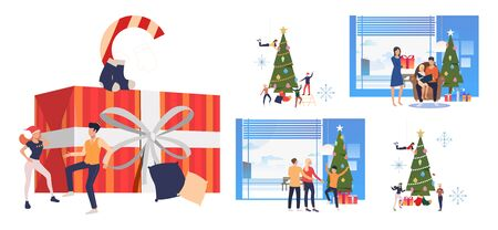 Christmas and New Year set. Families and friends celebrating at Xmas tree. Flat vector illustrations. Holiday, party concept for banner, website design or landing web page