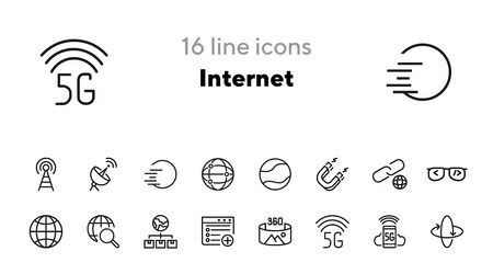 Internet line icon set. Globe, satellite, browser. Communication concept. Can be used for topics like wireless technology, connection, global network Ilustrace