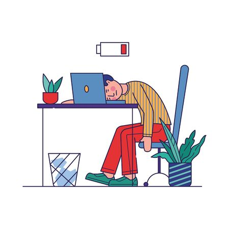 Tired employee exhausted with work. Man sleeping at workplace near laptop with low battery. Vector illustration for burnout, overload, fatigue, tiredness concept