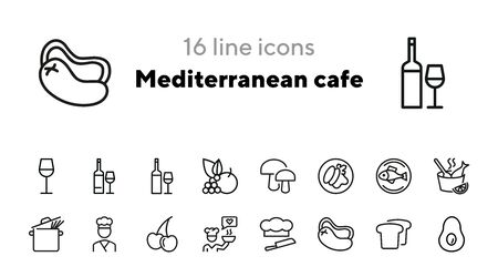 Mediterranean cafe line icon set. Wine, fish, spaghetti, avocado, vegetables. Eating concept. Can be used for topics like healthy diet, food, restaurant, menu, cooking