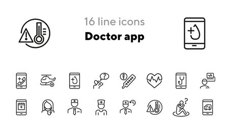 Doctor app line icon set. Mobile phone, ambulance call, doctor schedule. Medicine concept. Can be used for topics like medical service, urgent help, emergency Ilustração