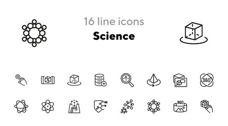 Science line icon set. Set of line icons on white background. Molecule, structure, technology. Science concept. Vector illustration can be used for topics like investigation, laboratory