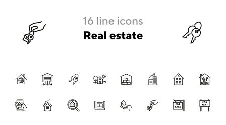 Real estate line icon set. House, home, for sale. Housing concept. Can be used for topics like mortgage, buying, rent