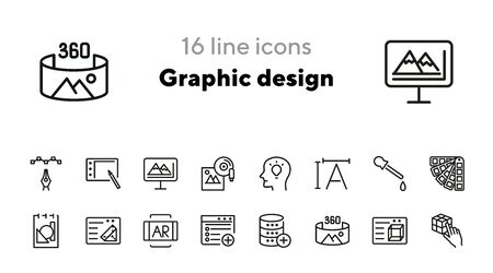 Graphic design line icon set. Creativity, interface, drawing. Inspiration concept. Can be used for topics like program, art, web design