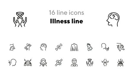 Illness line icons. Set of line icons on white background. Pain, headache, bones. Healthcare concept. Vector illustration can be used for topics like medicine, surgery, healthcare