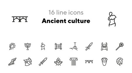 Ancient culture line icon set. Sword, spade, armor. History concept. Can be used for topics like war, medieval, myth Иллюстрация
